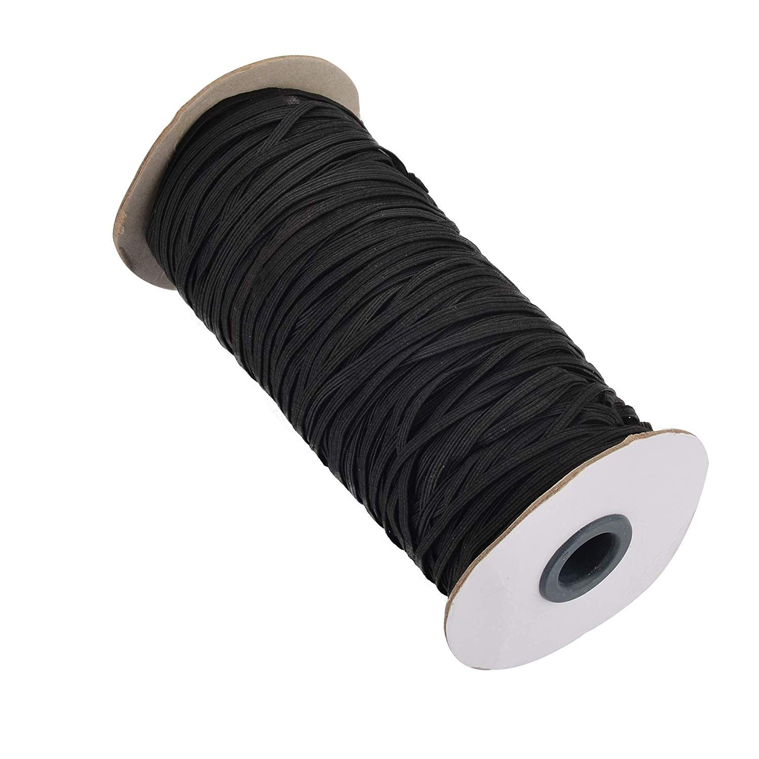 120 Yards 1/8'' Black Color Braided Flat Elastic Band/Elastic Cord Bungee/Durable Stretch Knit Elastic Spool Sew Tool,4Rolls by goodxy