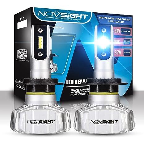 NOVSIGHT H7 Faros Delanteros Bombillas LED 50 W 10000LM 6500K Super Brillante Lámpara de Luces Blancas