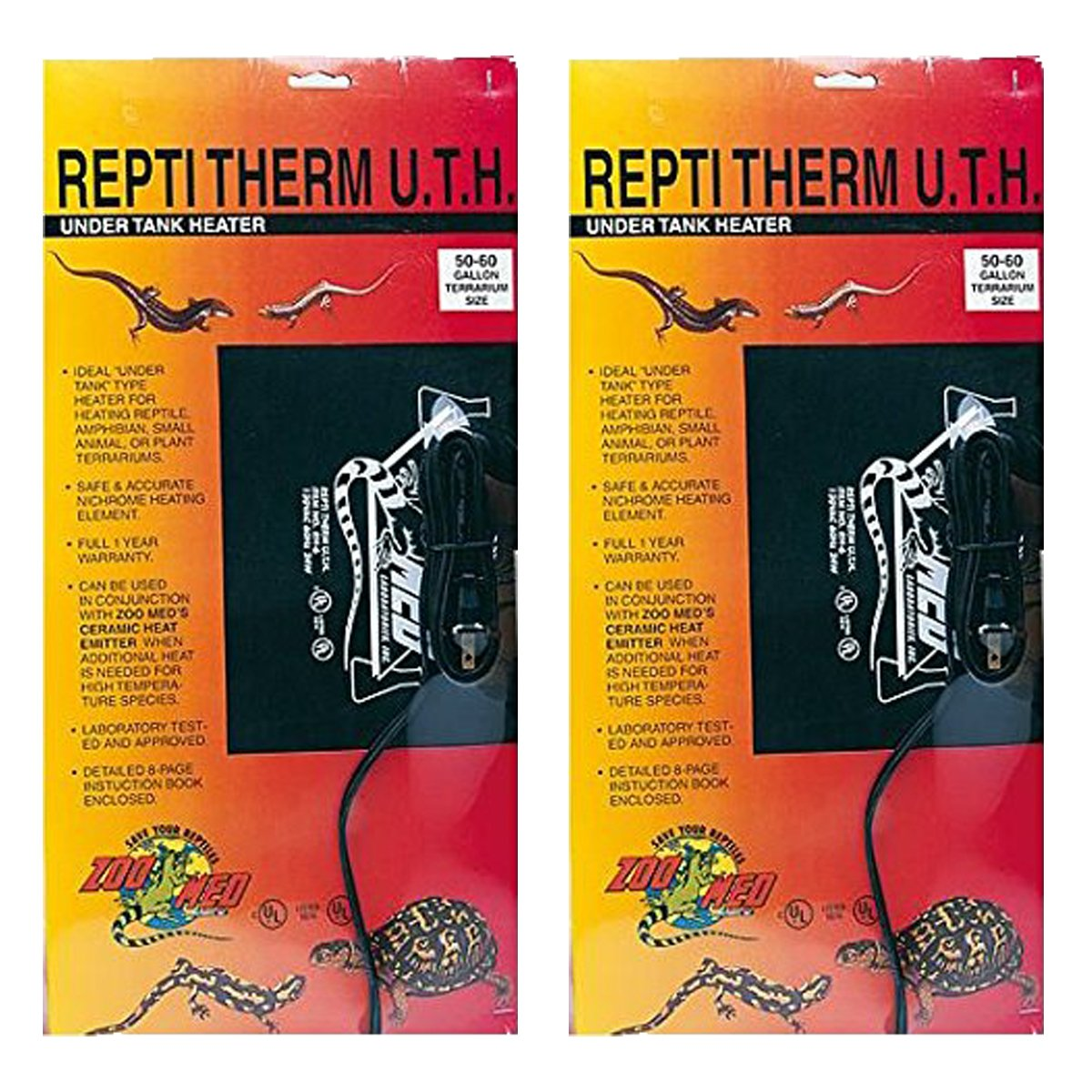 Zoo Med ReptiTherm Under Tank Heater, 30-40 Gallon (2 Pack) by Zoo Med