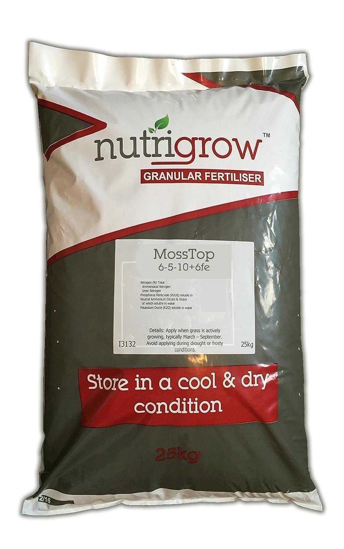 Agrigem Moss Top Fertiliser 6-5-10+6Fe Control Moss and Help Grass Growth, 25 kg 1324
