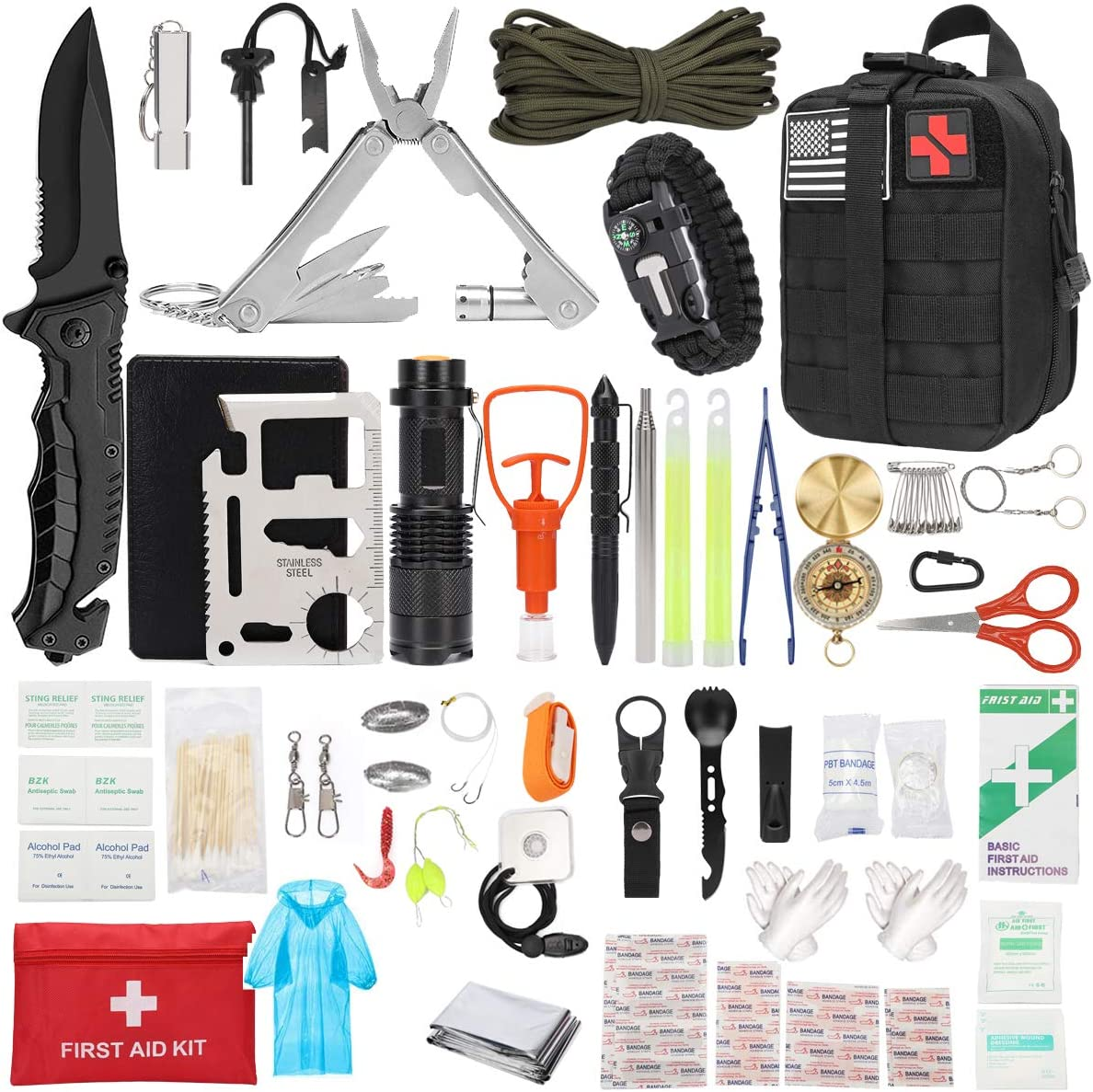 Survival Gear and Equipment,haffy Emergency Survival Kit and First Aid Kit Gift for Men ,Trauma Bag Compatible Outdoor Tactical Gear for Fishing Camping Hunting Hiking Earthquake