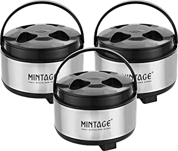 Mintage Stainless Steel Cassrole Set  1500 2000 2500 ml, Black Berry  3 Pieces Serving Casseroles   Tureens