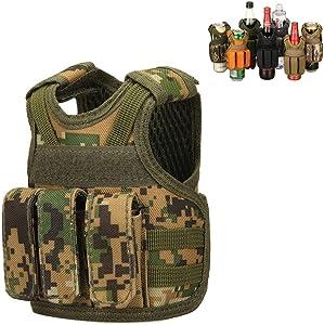 JFFCESTORE Bottle Beer Vests Beverage Cooler Tactical Mini Molle Adjustable Beverage Holder for 12oz or 16oz Cans or Bottles Decoration