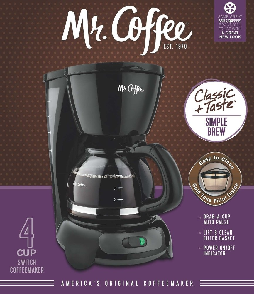 Amazon Mr Coffee 4 Cup Switch Coffee Maker With Gold Tone