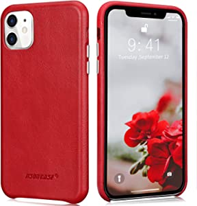 "JISONCASE Genuine Leather Case iPhone 11, Compatible w/iPhone 11 Leather Case-Ultra Thin, Anti-Slip,Shockproof & Wireless Charger Protective Case for Apple iPhone 11,Red 6.1"" (2019)"