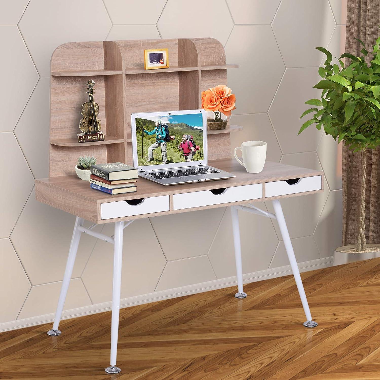 Homcom - Escritorio con cajones y estantería, madera, blanco y ...