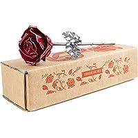 Rosa Eterna de Hierro Forjado Roja y Plateada - Forjada a Mano