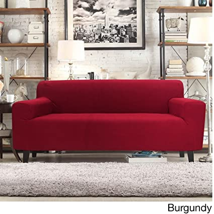 Marvelous Bed Bath N More Form Fit Smart Seam Stretch Sofa Slipcover Burgundy