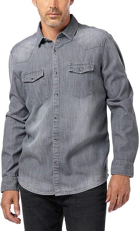 Pioneer Shirt L/s Denim Camisa Vaquera, Gris (Magnet 163 ...