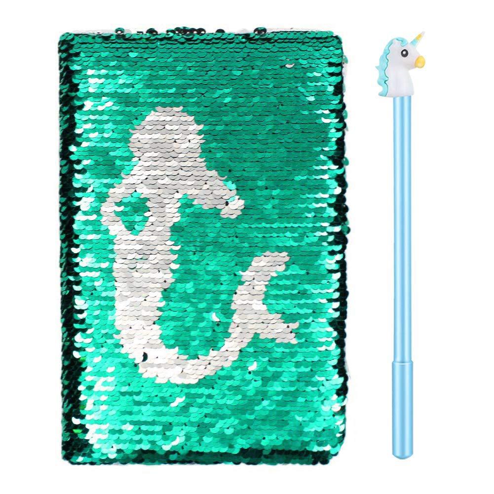 Taccuino di Paillette Magico per Notebook Alpaca Diario di Scuola per Diapositive Sirena A5 per Ragazze Regali di Compleanno per Feste Taccuino per Ufficio Paillettes Reversibile