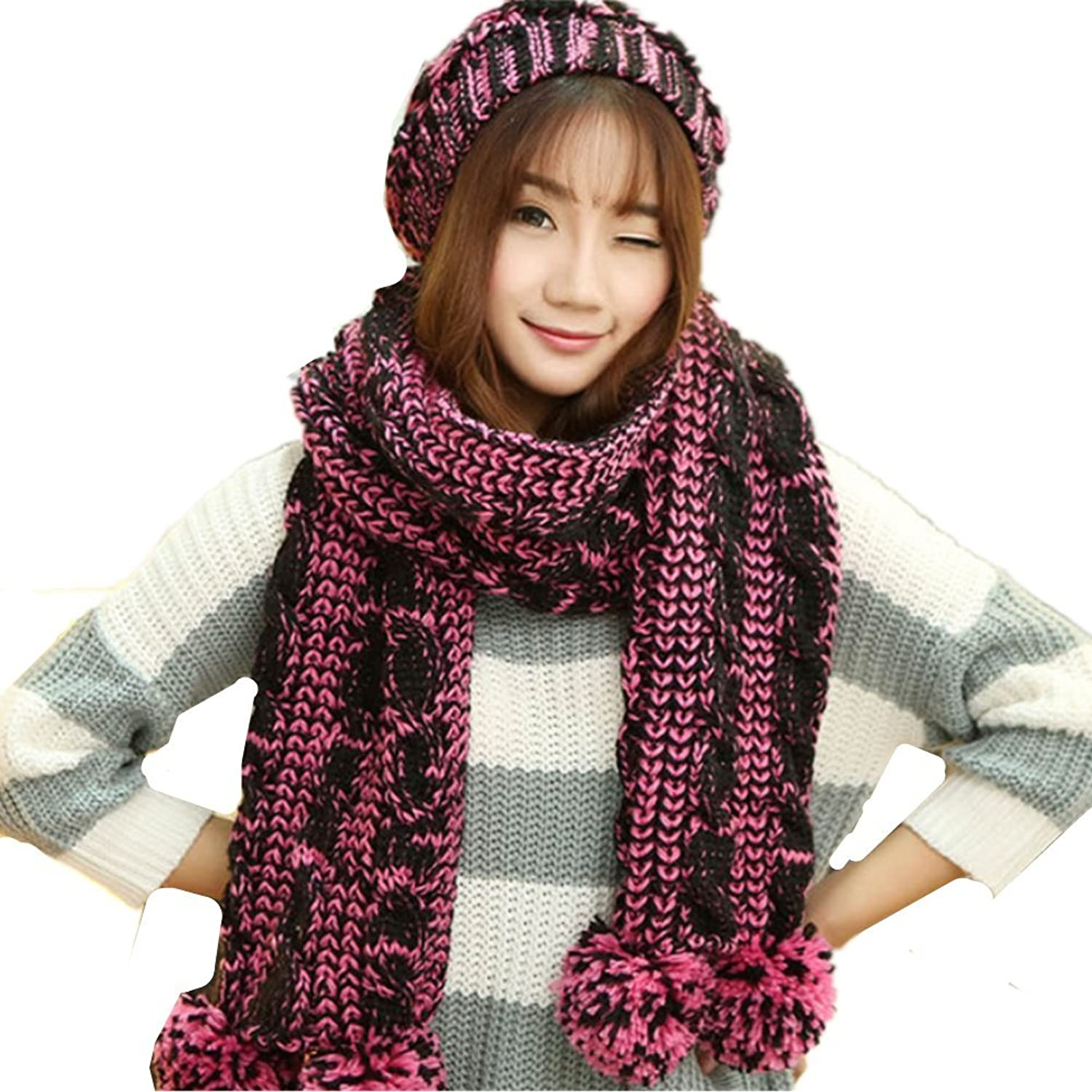 Fashion Winter Warm Girls Women Hat Scarf Set Cute Ball Wool Knit Hat