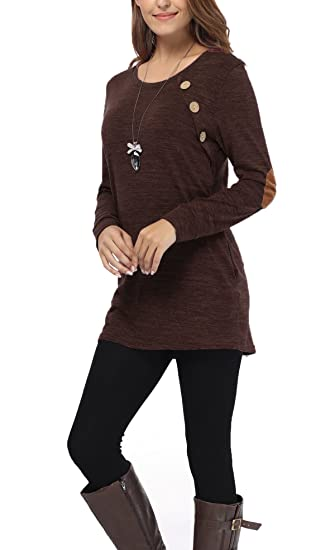4220494808 iGENJUN Women s Long Sleeve O-Neck Button Design Loose fit Tunic Tops with  Pocket