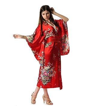Shanghai Tone® Kimono Túnica Yukata Japonesa de lujo Vestido Rojo con Obi Talla Única