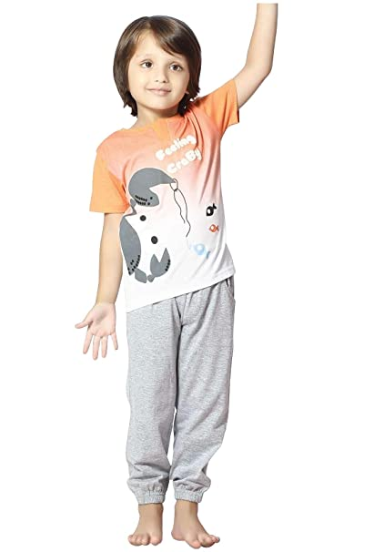 8c5c0c1199c Night Suit for Toddlers - Orange and Grey Color - Sinker Material - Printed  Night Suit - Half Sleeves Tshirt and Pyjama Set - Available for 2 3 4 5 6  Year ...