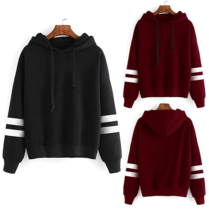 Hangton Print Long Sleeve Women Hoodies Sweatshirts Hooded Female Jumper Womens Tracksuits Sportswear at Amazon Womens Clothing store: