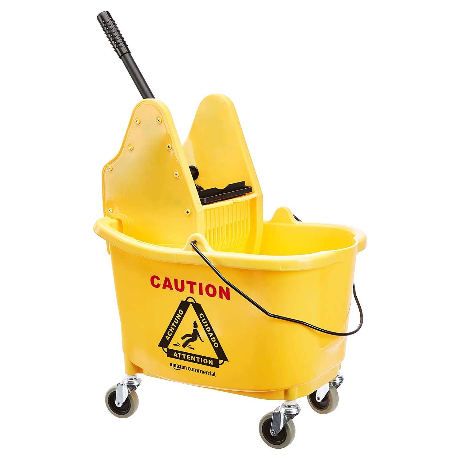 AmazonCommercial Mop Bucket and Down Press Wringer Combo, 35-Quart, Yellow