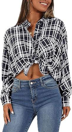 Blusa De Mujer A Cuadros Botón Abajo Nudo Delantero Batwing Camisa De Manga Larga Tops: Amazon.es: Ropa y accesorios