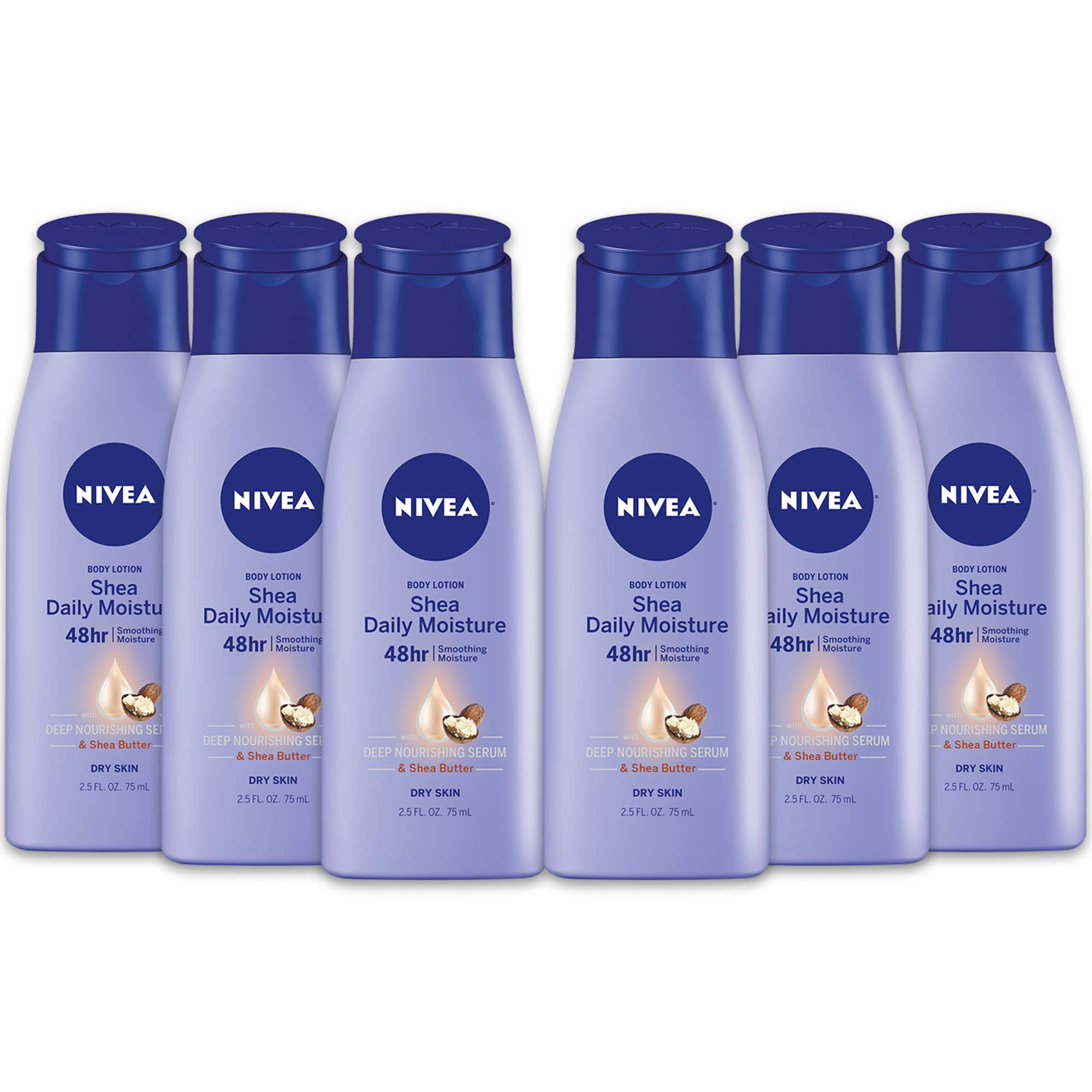 NIVEA Shea Daily Moisture Body Lotion - 48 Hour Moisture For Dry Skin - 2.5 oz. Bottle (Pack of 6) by Nivea