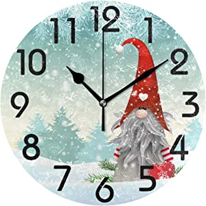 ZzWwR Christmas Traditional Gnome Scandinavian Print Round Wall Clock, 9.5 Inch Battery Operated Quartz Analog Quiet Desk Clock for Home,Office,School