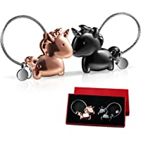 Foonii 1 Paire de Couple Porte-clés, Magnétique Détachable Keychain Baisers Couple Clés Anneaux en Alliage, pour mâle et Femelle Valentin idée Cadeau (Noir et Rose)
