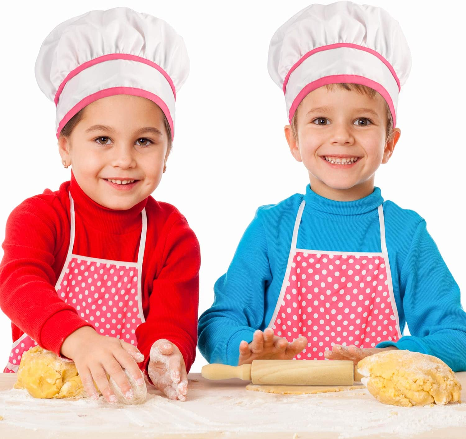 KKONES Kids Cooking Baking Set 17Pcs Kids Chef Role Play Costume Set Chef Hat and Matching Pink Apron Children Dress up Pretend Gift for 3 4 5 6 7 8 Year Old Girls Toys