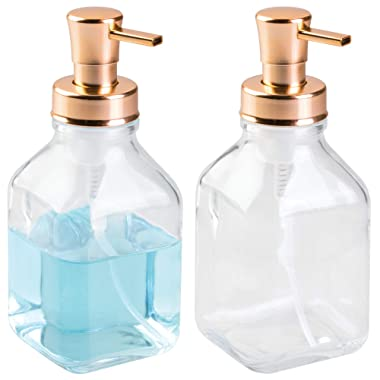 mDesign Modern Square Glass Refillable Foaming Soap Dispenser Pump Bottle for Bathroom Vanities or Kitchen Sink, Countertops - 2 Pack - Clear/Copper