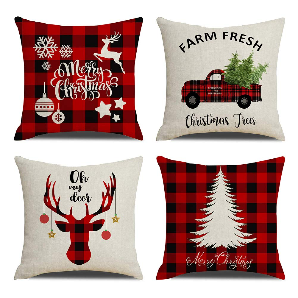"KACOPOL Christmas Decorations Pillow Covers Christmas Tree Snowflake Snowman Reindeer Home Decor Polyester Peach Throw Pillow Case Cushion Cover 18"" x 18"" Set of 4 Xmas Gifts (Buffalo Plaids-4 Pack)"