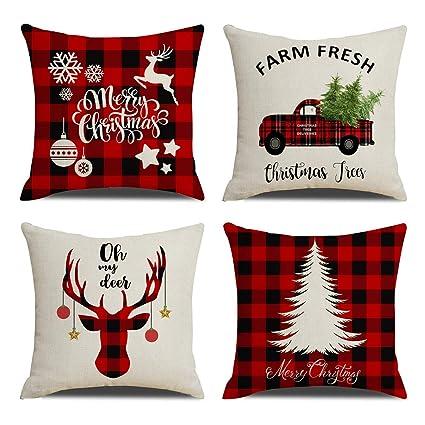 Plaid Christmas Pillows.Kacopol Christmas Decorations Pillow Covers Christmas Tree Snowflake Snowman Reindeer Home Decor Polyester Peach Throw Pillow Case Cushion Cover 18 X