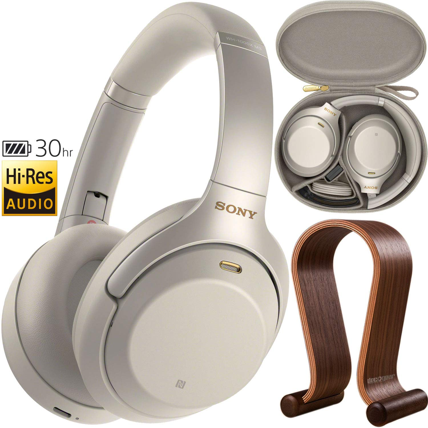 Sony WH1000XM3 Premium Noise Cancelling Wireless Bluetooth Headphones with Built in Microphone WH-1000XM3 S Silver Deco Gear Wood Headphone Display Stand Holder Protective Travel Carry Case