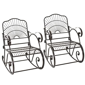 ZENY Set Of 2 Patio Rocking Chair Wrought Iron Porch Decorative Metal  Glider Rocker Outdoor Backyard