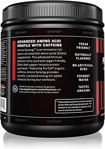 Kaged Muscle Amino Synergy – Vegan BCAA EAA Powder, Premium Vegan Branched Chain Amino Acid and Essential Amino Acid Supplement with Coconut Water, Raspberry Lemonade, 30 Servings