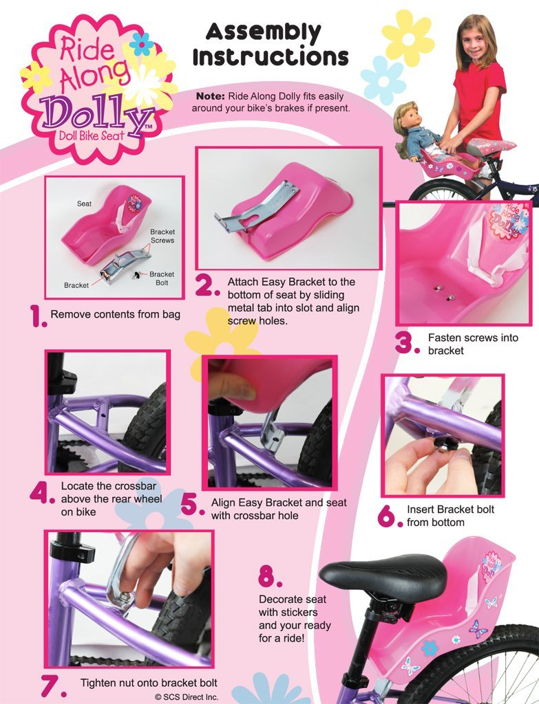 Ride Along Dolly Doll Bicycle Seat Bike Seat (Purple) with Decorate Yourself Decals (Fits American Girl and Standard Sized Dolls and Stuffed Animals) - Purple by Ride Along Dolly (Image #3)