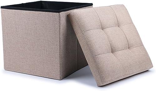 WoneNice Folding Storage Ottoman Cube Foot Rest Stool Seat Linen Beige
