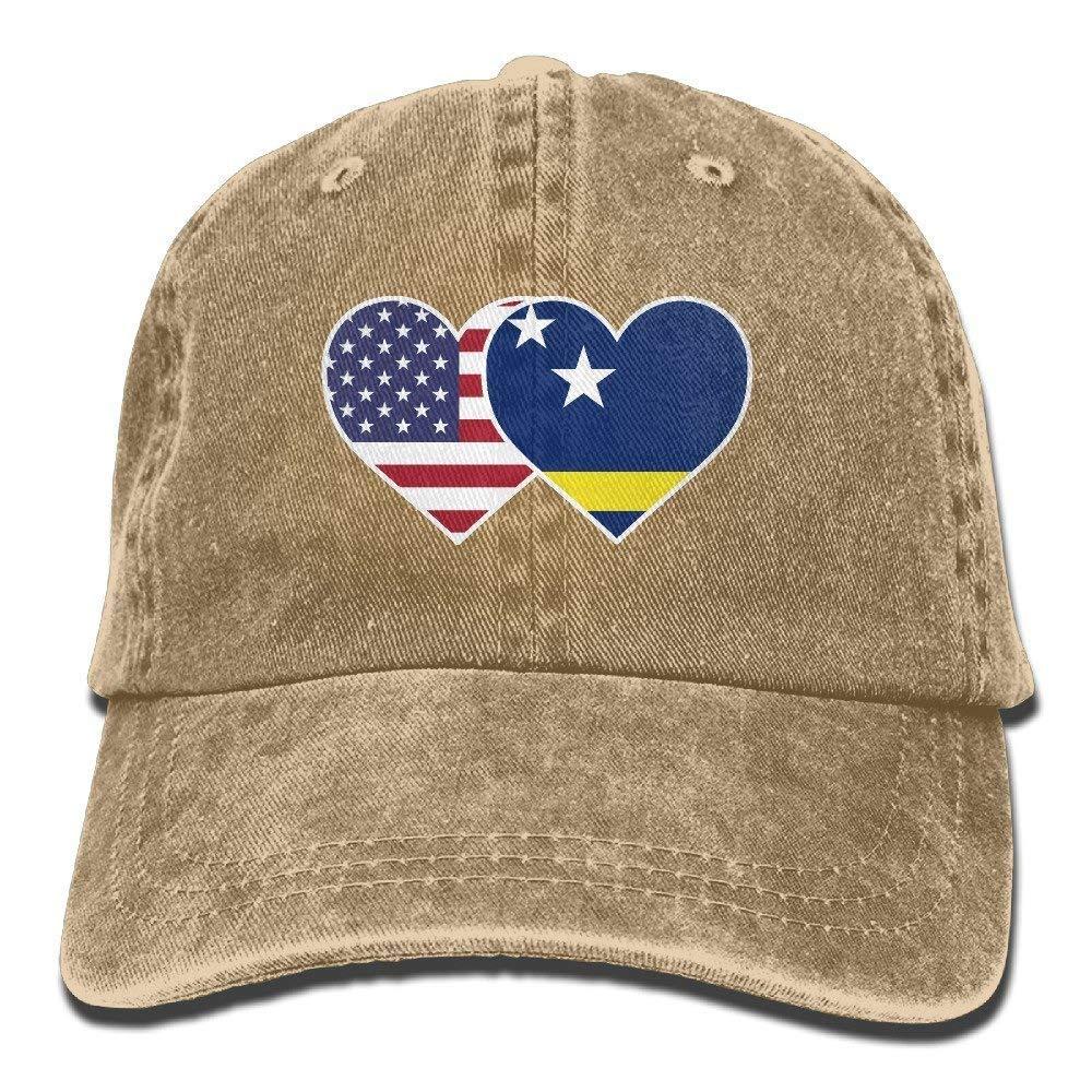 Curacao USA Flag Twin Heart Unisex Adult Denim Washed Cowboy Trucker Hat Retro Adjustable Baseball Cap JTRVW Cowboy Hats