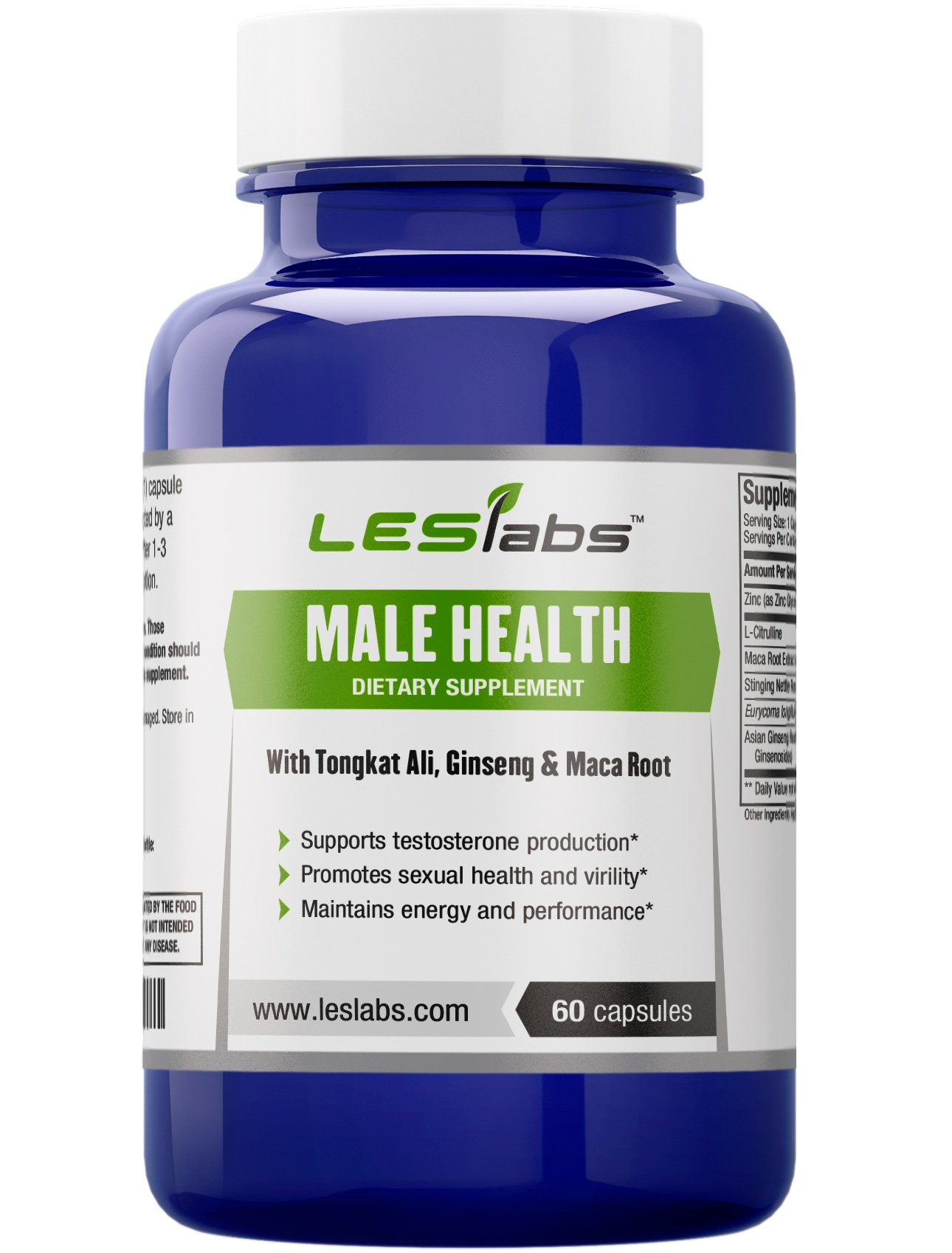 LES Labs Male Health, Testosterone Booster for Strength, Endurance & Performance, Non-GMO, 60 Capsules