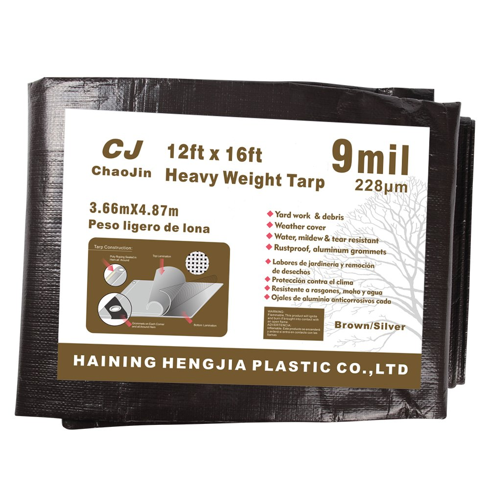 Tear Proof Brown//Silver Heavy Duty Tarp with Grommets and Reinforced Edges Waterproof Tarp ChaoJin 8x10 9 Mil Thick Rust