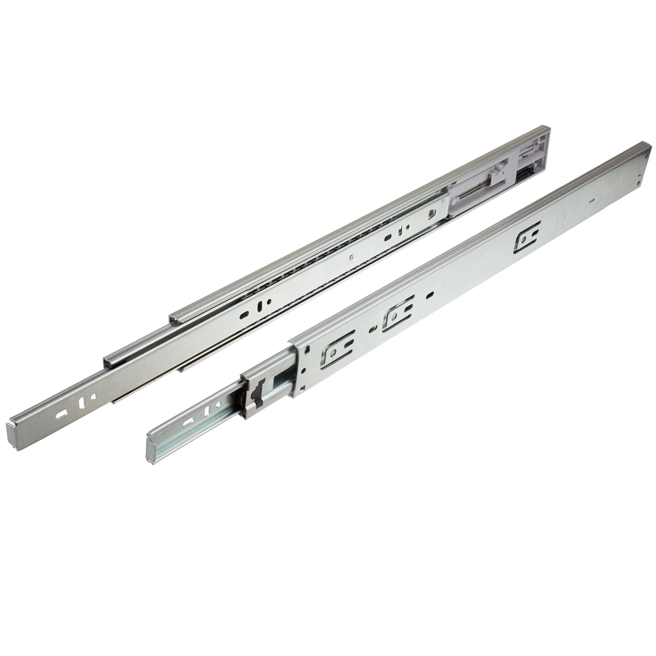 GlideRite Hardware 2275-ZC-10 22 inch Side Mount Soft Close Full Extension Drawer Slides 10 Pack 22'', 100 lb, Silver