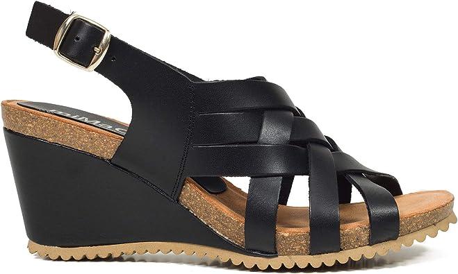 Tiras- Sandalia de cuña Bio Negra: Amazon.es: Zapatos y ...