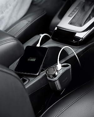 BESTEK 150W Cigarette Lighter Adapter 2-Socket Power Splitter 3A Dual USB Car Charger for iPhone, iPad, Galaxy, Google Pixel, Motorola, LG, Nexus, HTC and More (Color: Grey)
