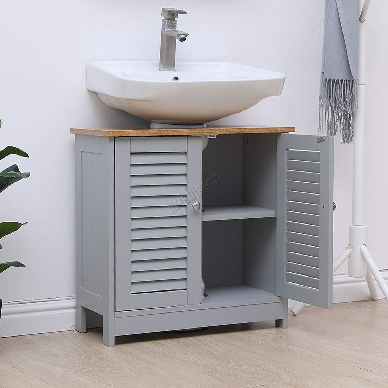 Taylor Brown Grey Bamboo Under Sink Bathroom Cabinet Free Standing Wooden Sink Storage Unit Basin Cupboard With Shelf Furniture Home Kitchen Speedexservicecenter Com