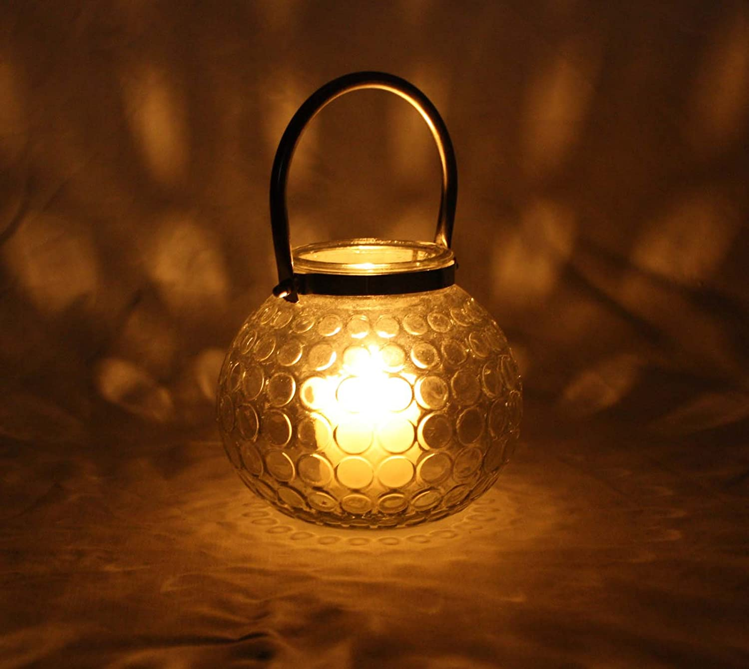 marymarygardens Glass Ball with Silver Coloured Handle Candle Holder