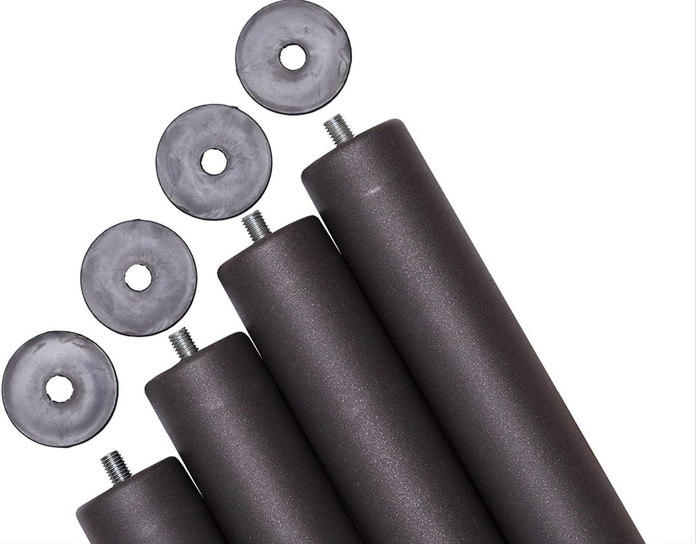 Pack 4 patas para somier o base tapizada cilindricas, altura especial 20 cm
