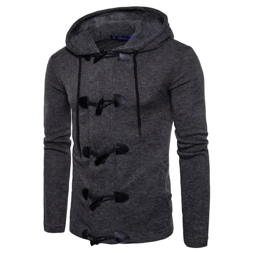 Autumn Winter Men's Softshell Overcoat Slim Designed Hooded Top Cardigan Coat Jacket with Hood (Dark Gray, S)