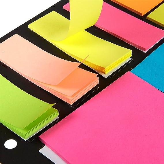 universali Projects International 12 diversi colori in 3 formati ben organizzati qualit/à premium Nero confezione sicura Confezione da 1200 foglietti adesivi