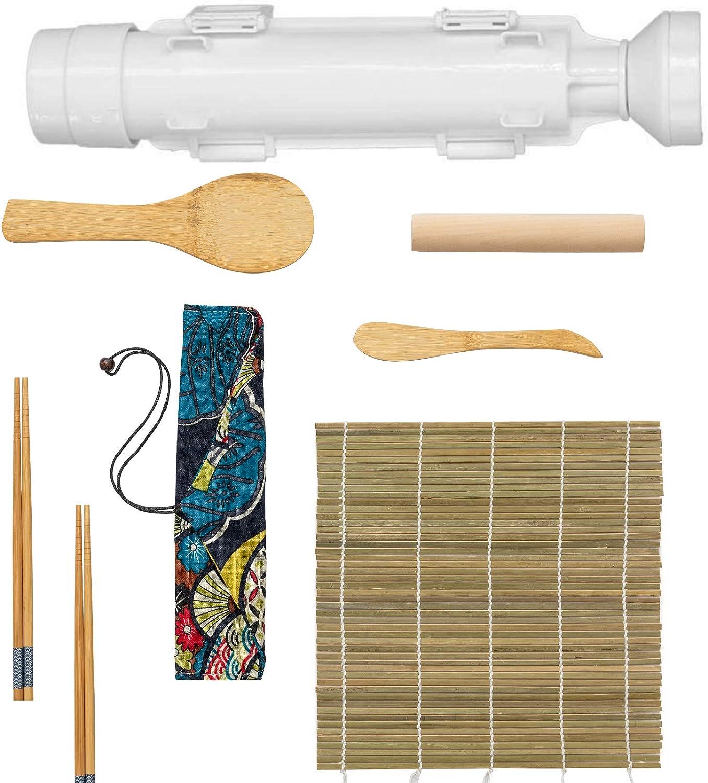 URED Professional Super Space Sushi Bazooka ,Upgrade Sushi Roller Mold Food Grade Plastic, Sushi Maker Rice Vegetable Meat Diy Sushi Making Kit Machinekitchen Utensils White (6pcs a set)