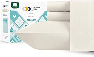800 Thread Count Sateen Sheets - 100% Extra Long Staple Cotton Hotel Luxury Range, Soft and Crisp, Deep Pocket with Elasticized Deep Pocket for Snug Fit (4 Piece, Queen, Ivory)