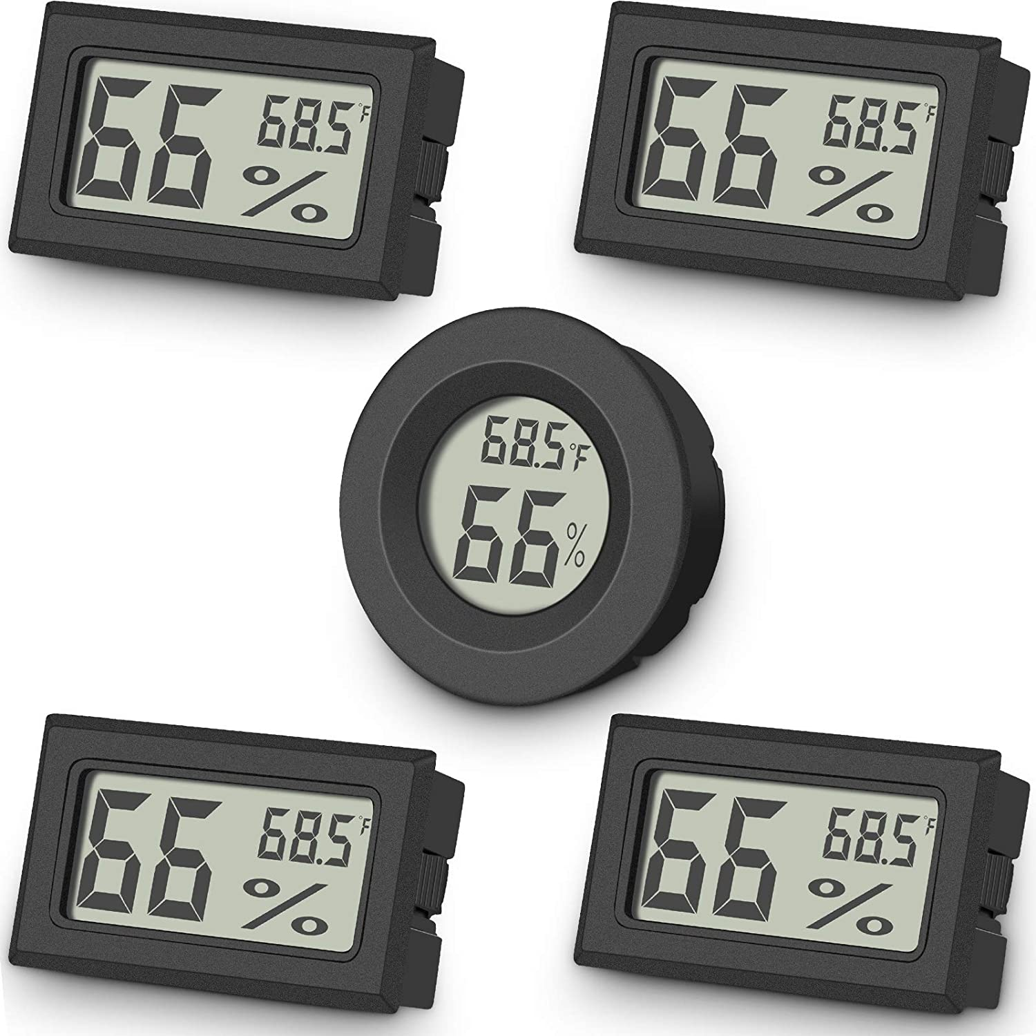 5-Pack Mini Digital Thermometer Hygrometer, Indoor Room Round Temperature Humidity Meter Gauge monitor, Large LCD Display Fahrenheit or Celsius for Greenhouse, Home, reptile, Humidors, office, Garden