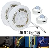 ESVNE LED Digital Bed-lighting Motion Sensor Light Strips Kit with UL Power Supply ,Activated Automatic Sensor LED Night Bed Light with Timer for Bed, Hallways, Stairs,Under Cabinet,Bedroom,Doorway