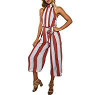 a83daaf6a79 BerryGo Women s Sexy Backless Halter Striped Loose Leg Jumpsuit
