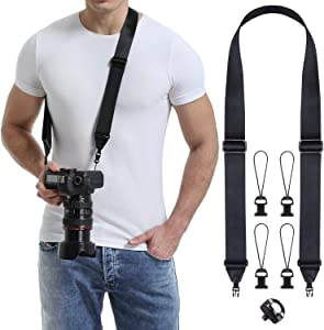 waka Rapid Slide Camera Neck Shoulder Strap with Quick Release, Adjustable Camera Sling Strap for Nikon Canon Sony Fuji Panasonic Olympus Pentax Any DSLR Camera, Black